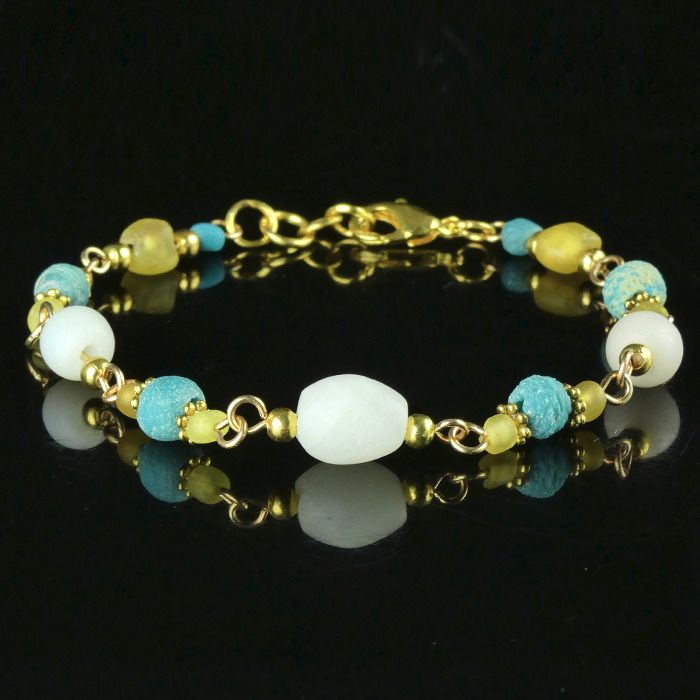 Ancient Roman Glass Bracelet with turquoise, white and yellow glass beads - (1)