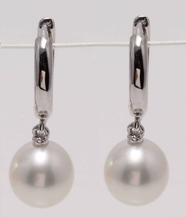 United Pearl - 14 kt. White Gold - 9x10mm Lustrous South Sea Pearls - Earrings
