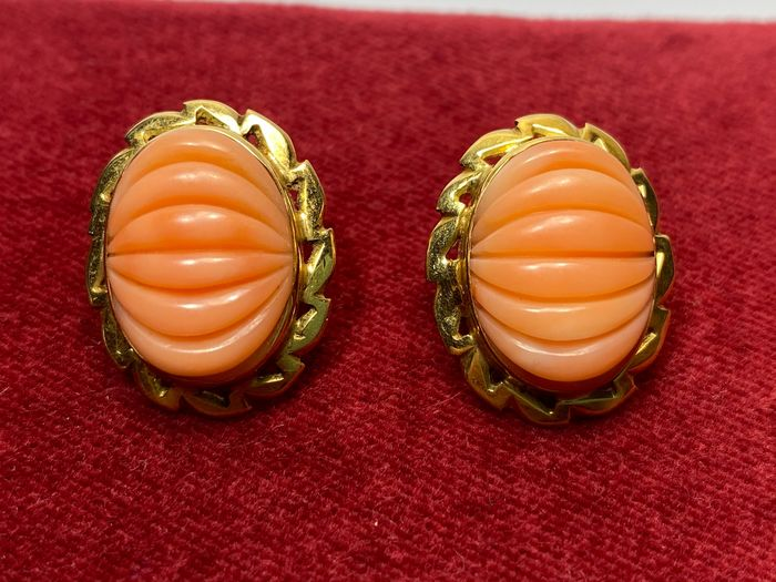 18 kt. Yellow gold - Earrings Mediterranean coral
