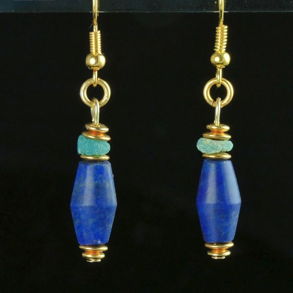 Ancient Egyptian Lapis Lazuli Earrings with Lapis and glass beads - (1)