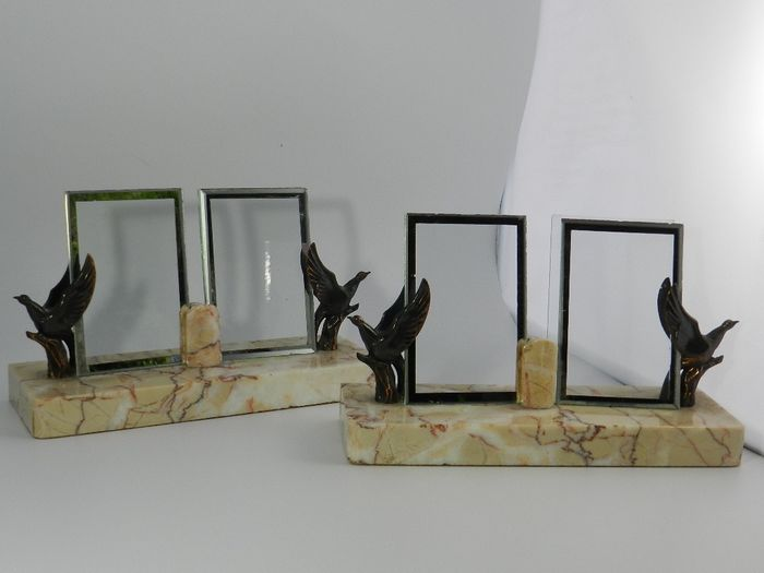 Art Deco - Two Identical Photo Frames - Art Deco - Glass, Marble