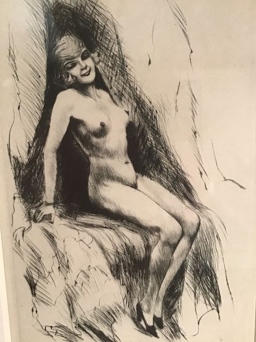 Graceful etching depicting an art deco reclining nude woman in numbered edition (1)