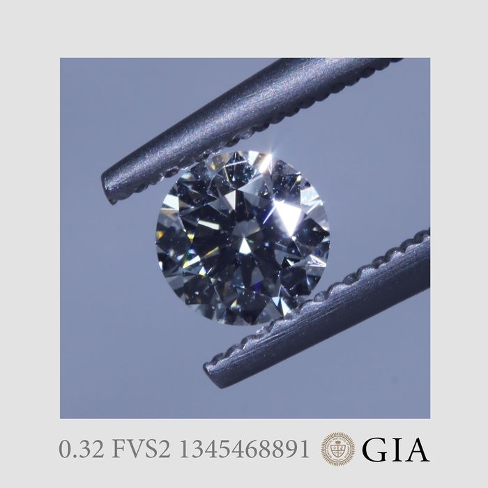 1 pcs Diamond - 0.32 ct - Brilliant - F - VS2