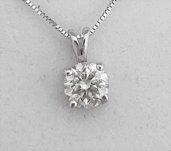 14 kt. White gold - Necklace with pendant - 0.81 ct Diamond - F / VS2