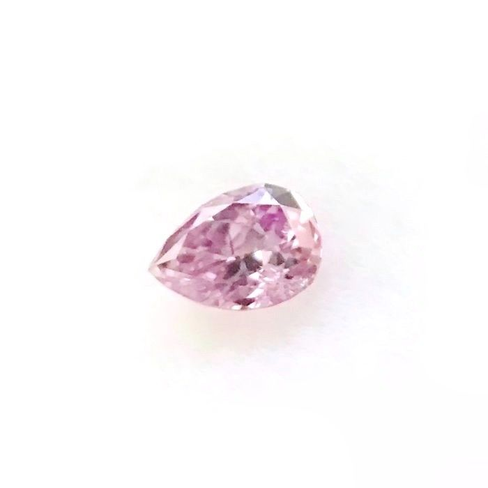 1 pcs Diamond - 0.10 ct - Pear - fancy intens purple pink - I1