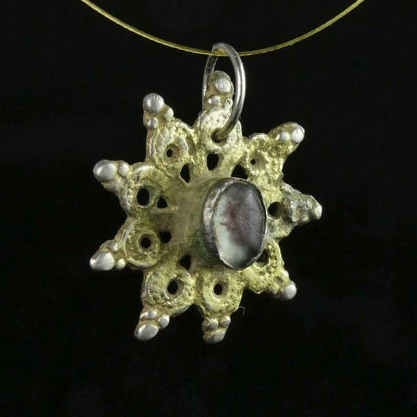 Medieval Gilded Silver Crusader Era Reliquary Star Pendant - (1)