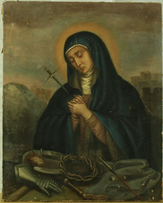 Painting, Mater Dolorosa with Arma Christi - oil painting on canvas - Second half 19th century