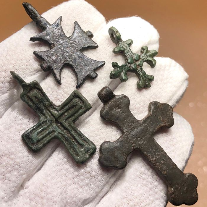 Early medieval Bronze Nice Selection of Four Crosses from Viking to Crusaders Era inclusive Maltese Cross of Hospitallers