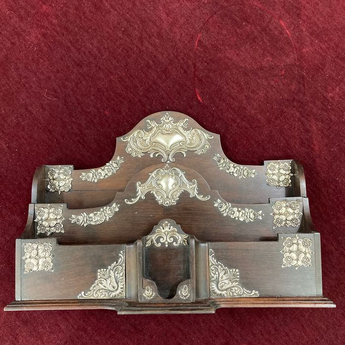 Silver card holder and holy wood - Satinwood, Silver - Approx. 1900