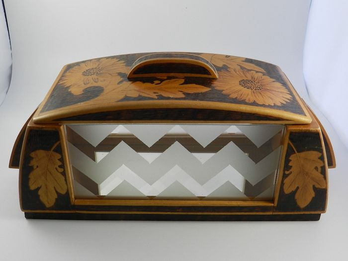 Art Deco - Cookie jar - Art Deco - Stained wood and glass
