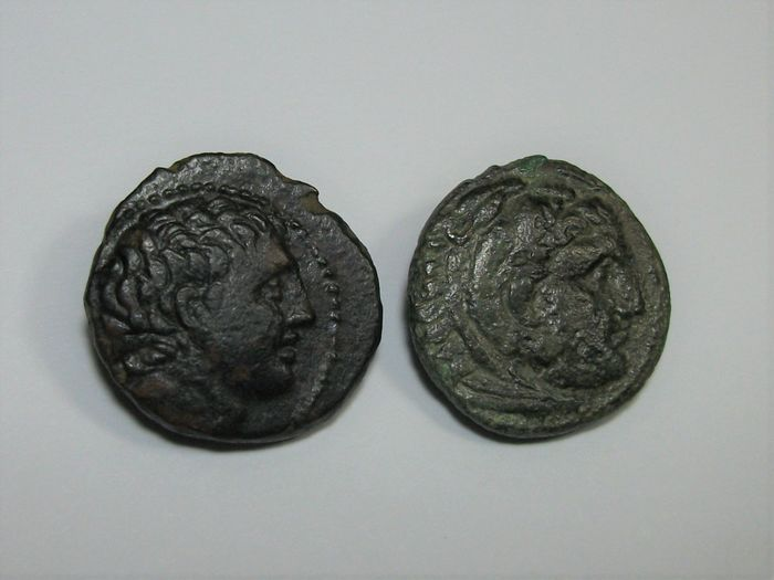 Griechenland (Antike) - Lot comprising 2 AE coins: Thessaly, Phalanna. AE Dichalkon, 3rd century BC / Kings of Macedon. AE19, Kassander, 316-297 BC