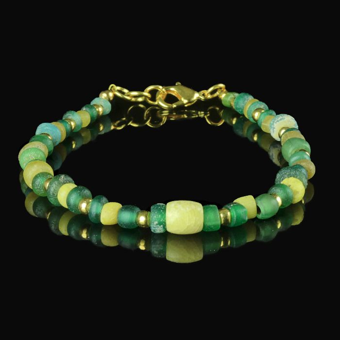 Ancient Roman Glass Bracelet with green and yellow glass beads - (1)