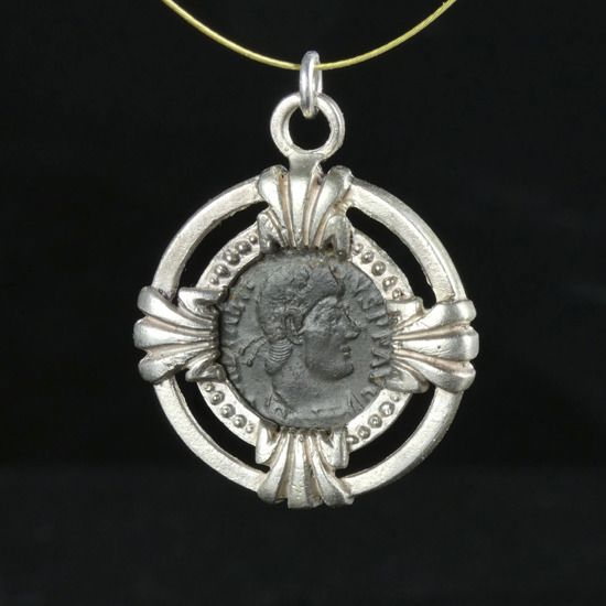 Ancient Roman Silver Modern Pendant with ancient coin of Emperor Constantius II - (1)