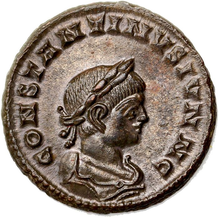 Römisches Reich - AE Follis, Constantine II (as Caesar AD 317-337) Lugdunum - Globe set on altar