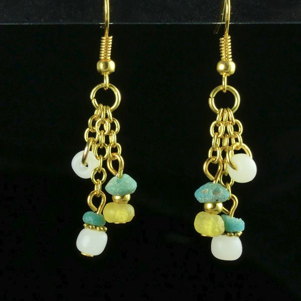 Ancient Roman Glass Earrings with turquoise, white and yellow glass beads - (1)