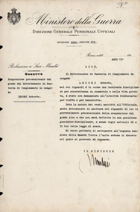Benito Mussolini - Autograph; Military Decree with Grade Suspension - 1928