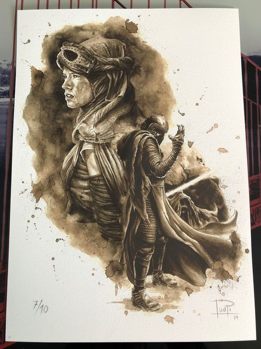 Giclee on watercolor paper 300g (7 of 10) - KYLO REN & REY COFFEE PAINTING - Limited Edition (2019)