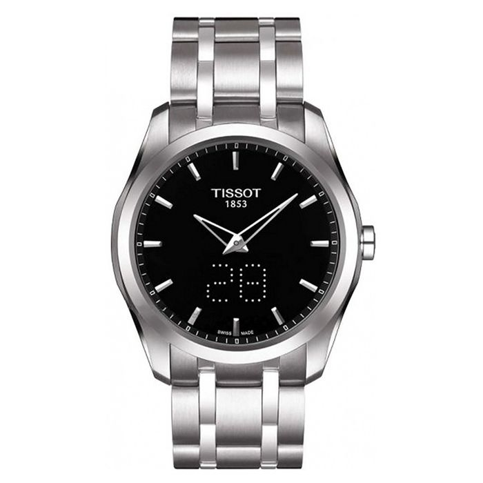 Tissot - Couturier Analogue & Digital Watch Black Dial Steel Sapphire Crystal Swiss Made - T0354461105100 - Heren - Brand NEW
