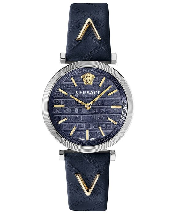Versace - V-Twist Stainless Steel with Blue Leather Strap Swiss Made - VELS00119 - Heren - Brand New