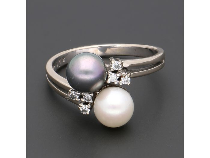 18 kt. White gold - Ring - 0.06 ct Diamond - Pearl