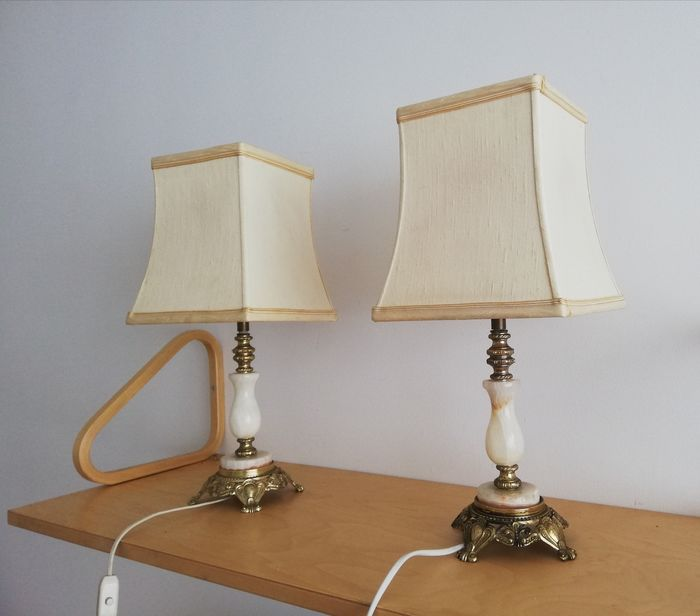 Unknown designer - Marble table lamps (2) - Regency - Brass, Marble