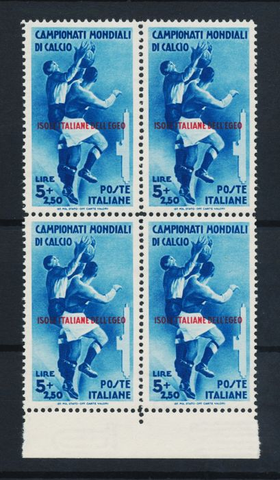 Italienische Ägäis-Inseln - general issues 1934 - High value football MNH in block of 4 - Sassone 79