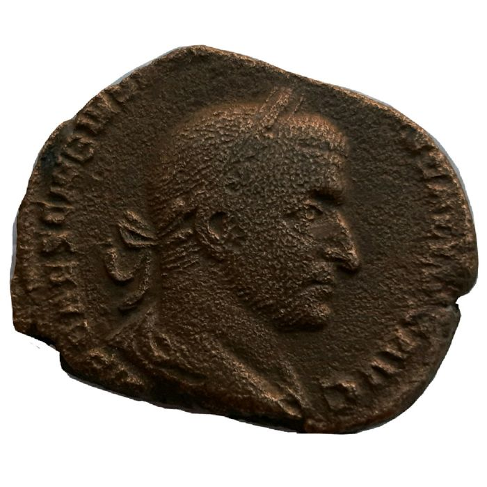 Roman Empire - Æ Sestertius, Trebonianus Gallus (AD 251-253) - Virtus standing with shield and spear - Bronse