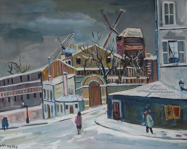 Painting, Jean Deldevez (1909-1983) Paris Montmartre, mill of the galette