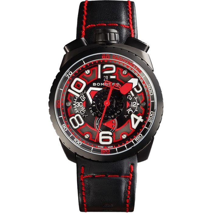Bomberg - BOLT-68 Automatic Chronograph Watch Black PVD Leather Strap + Medalion and Chain Swiss Made - BS47CHAPBA.041-1.3 - Heren - Brand NEW