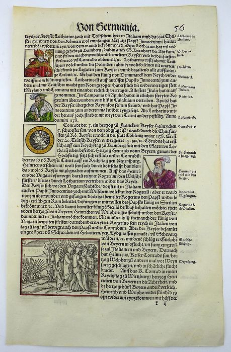 Heinrich Vogtherr (1490-1556), Holbein - Large folio woodcut leaf - Battle with Turks 1147; Conrad III, Guelphs flee - 7 wdcts - Stumpf Chronicle - First Edition - 1548 - 1548