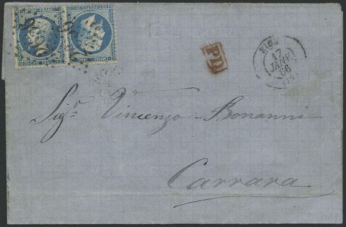 Frankreich 1862 - Napoleon, perforate, 20 centimes blue,  'tête-bêche' (head-to-tail) on letter. - Yvert 22b