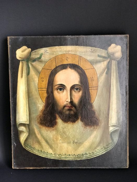 Icon, Russian, Savior Not Made by Human Hands (Mandylion) - Wood - Second half 19th century