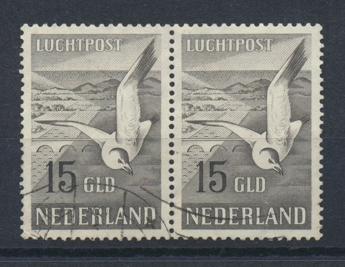 Netherlands 1951 - Airmail Seagull, in pair - NVPH LP12