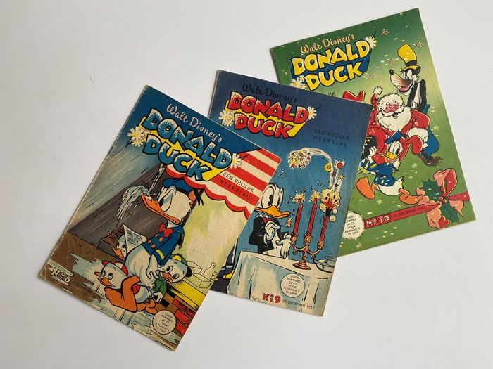 Donald Duck - nr 6 + nr 9 + nr 10 - Eerste Jaargang - Softcover - First edition - (1952)