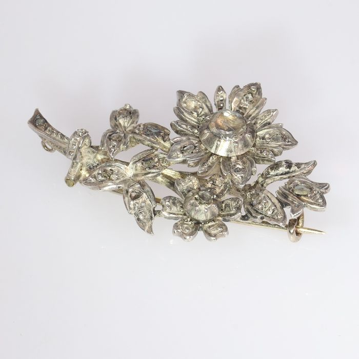 14 kt. Silver, Yellow gold - Brooch, Branch, Dutch Antique Victorian, Anno 1910 - Diamond - Natural (untreated)