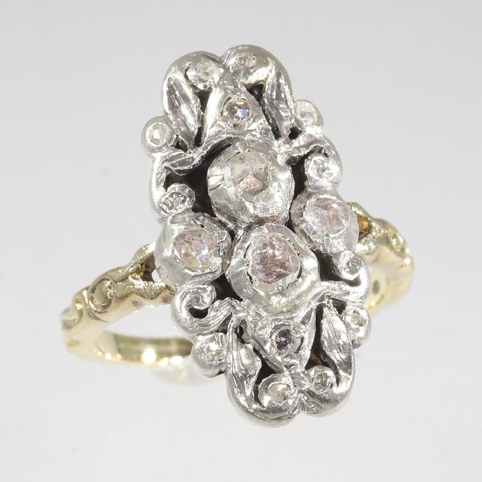 14 kt. Yellow gold - Ring, Vintage antique style - Diamond - Natural (untreated), Free resizing*