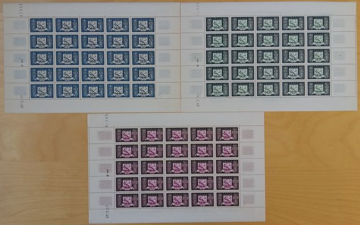 Monaco 1949 - Complete series 300 francs, 500 francs and 1000 francs in sheets of 25. - Yvert Poste aérienne 42-44