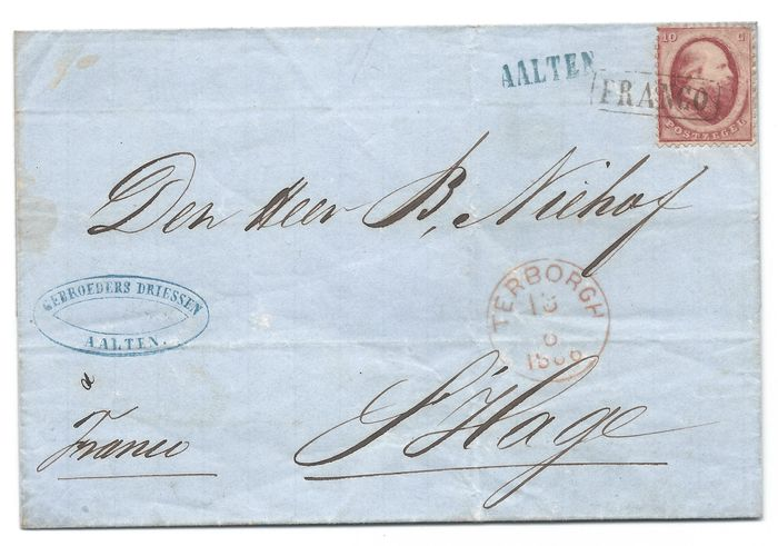 Netherlands 1866 - Letter cover from Aalten (name cancellation) via Terborgh to The Hague - NVPH 5