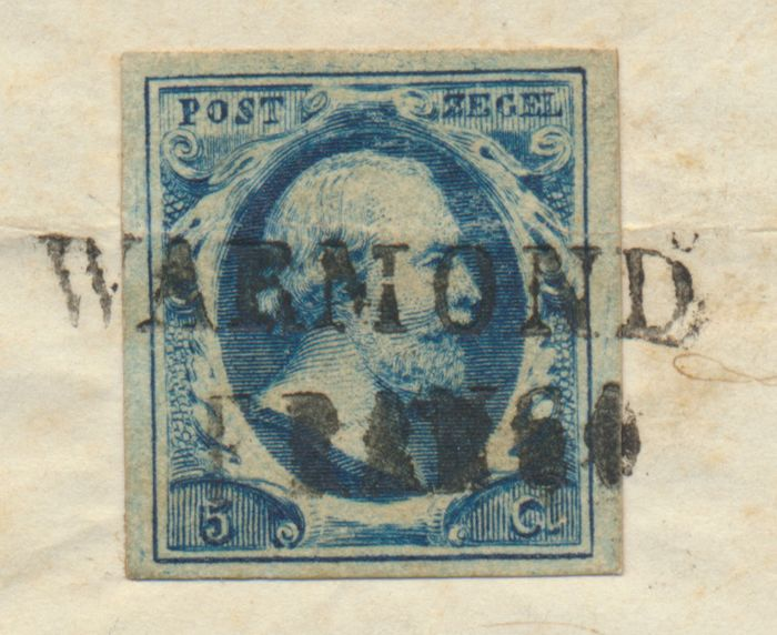 Netherlands 1852 - Letter cover with Warmond Franco (name cancellation) on stamp - NVPH 1