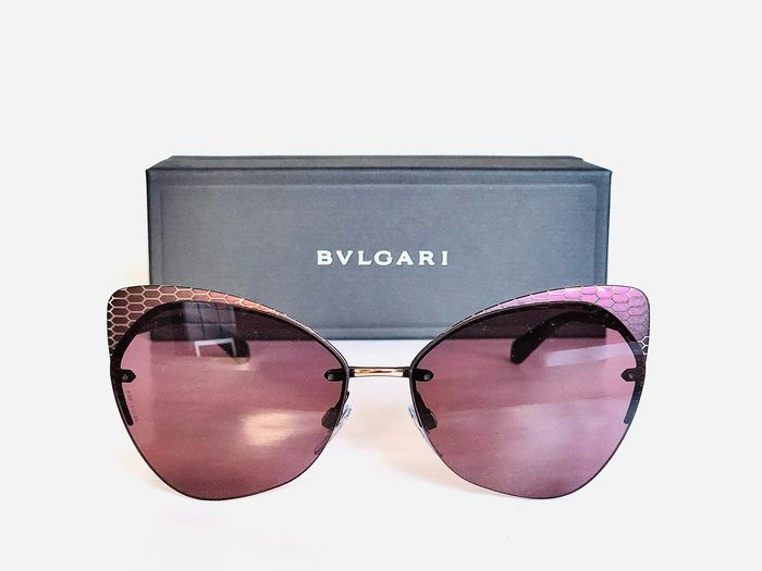 Bulgari - BVLGARI, model: BV6096-20321A-58, Cat.*2, Violet Gold, Rimless lenses, brand new & Unused designer Sunglasses