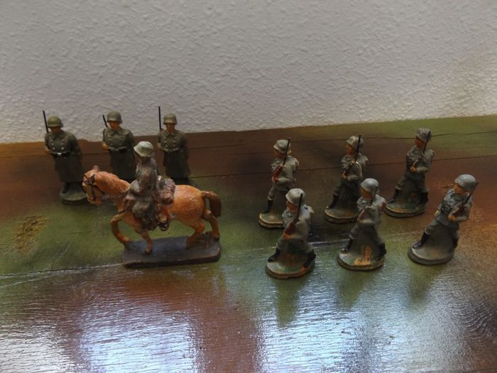 Old Rare Composite German Toy Soldiers Set - Personnage - 1930-1939 - Allemagne