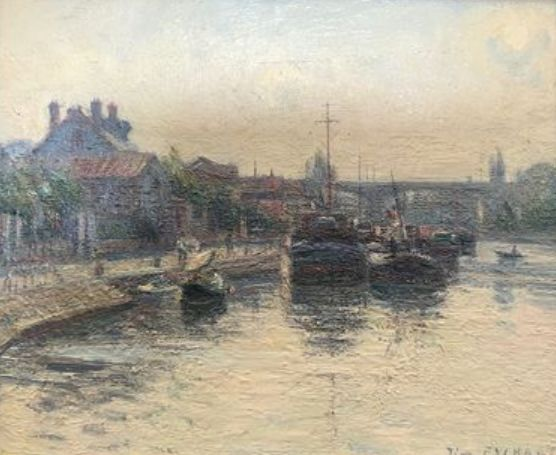 Pierre Eychart (XXe) - Signature *Hand signed - Painting, Morning on the Loing
