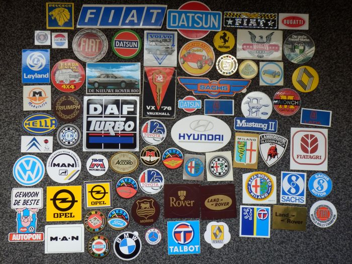 Collection of Vintage Car Stickers - Diverse merken - 1970-1980