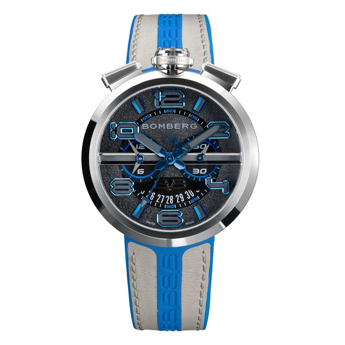 "Bomberg - 1968 Chronograph Watch Steel Blue Strap - Extra Strap Swiss Made - RS45CHSS.144.3 ""NO RESERVE PRICE"" - Heren - Brand NEW"