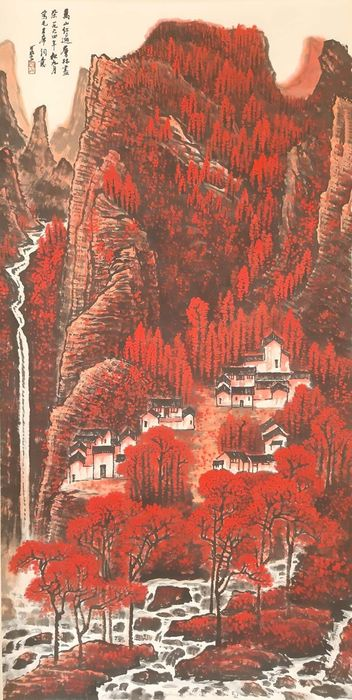 """Ink painting - Chinese scroll painting on Rice paper - 《李可染-万山红遍》""""Landscape in Red""""Made after Li Keran - China - Late 20th century"""