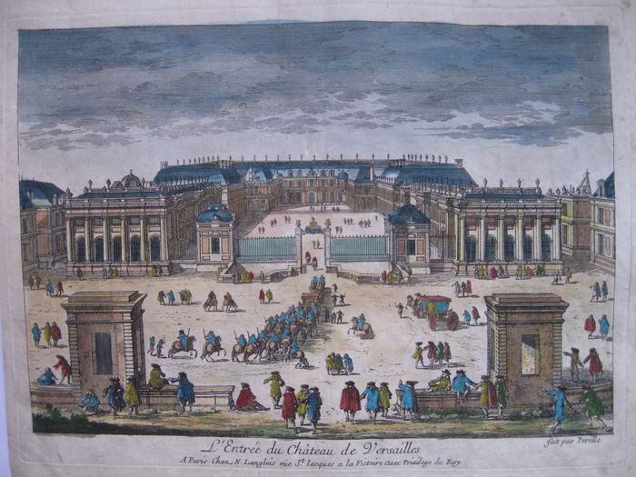 Entrance to the Palace of Versailles An optical engraving - A. Perelle