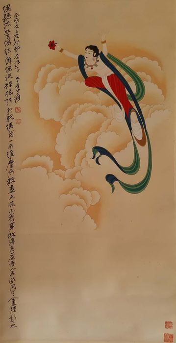Ink painting, Ink and color on paper, - Rice paper - 《张大千-飞天》Made after Zhang Daqian - China - Second half 20th century