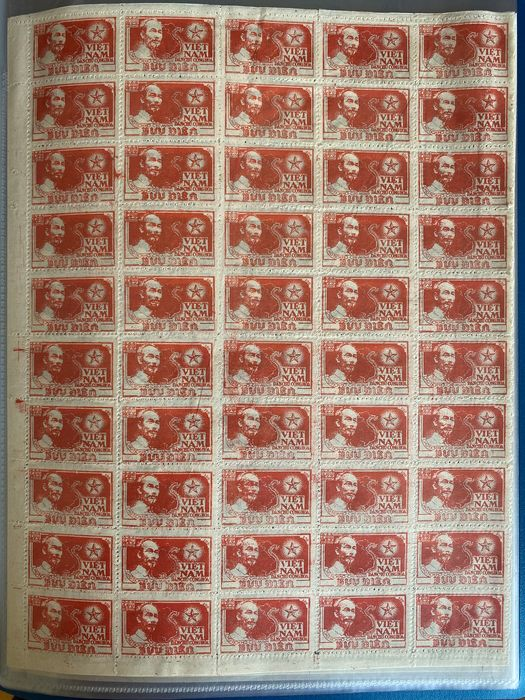 Vietnam 1951 - 3 sheets of 50 Ho Chi Minh stamps.