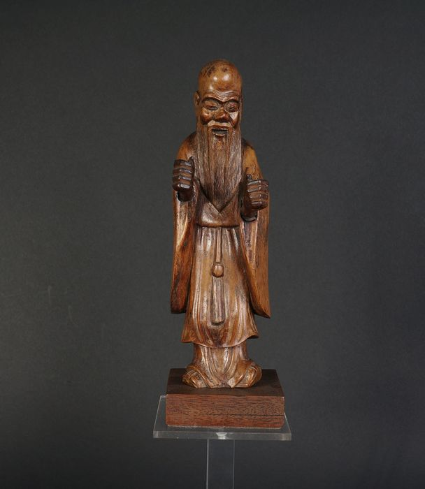 Chinese antique burl wood shou figure (1) - Rootwood - China - Late 19th century
