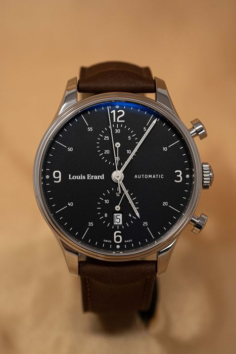 Louis Erard - Automatic Héritage Collection Swiss Made Chronograph Brown Leather Strap - 78289AA02.BVA01 - Men - Brand New